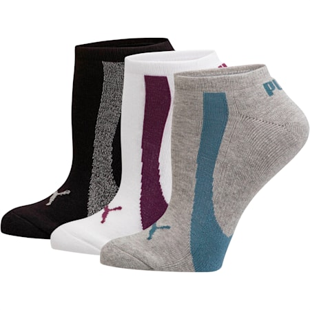 Women's No Show Socks [3 Pack], GREY / BLUE, small